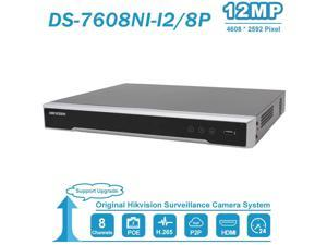 8CH 12MP NVR DS-7608NI-I2/8P Plug&Play with 8 POE Ports 2 SATA Network Video Recorder Up to 12MP Resolution H.265+ Network Video Recorder(Without HDD