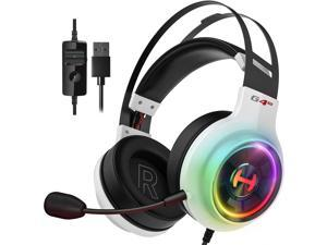 Edifier G4 TE Gaming Headset for PC, PS4, 7.1 Surround Sound Gaming Headphones with Noise Canceling Microphone, USB Over-Ear Headphone Wired with RGB Light, 50mm Driver for Mac, Laptop,White