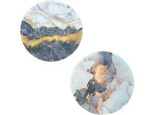 2Pcs Marble Mouse Pad,White & Gold Marble Mousepad, Cute Round Mouse Pad with Durable Stitched Edges,Non-Slip Rubber Base/Waterproof Office Mouse Pad, 7.9 inch