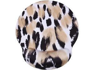 MOSISO Mouse Pad with Wrist Rest, Leopard Print Ergonomic Gaming Mousepad Gel Wrist Rest Support Home/Office/Working Easy Typing Cushion Non-Slip Rubber Base for Computer Laptop, Beige