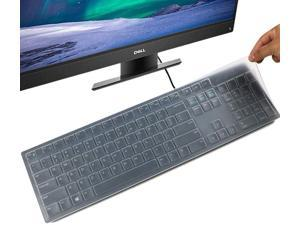 Keyboard Cover Skin for Dell KM636 Wireless Keyboard & Dell KB216 Wired/Dell Optiplex 5250 3050 3240 5460 7450 7050/Dell Inspiron AIO 3475/3670/3477 All-in one Desktop Keyboard Cover Protector, Clear