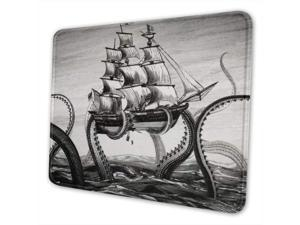 Kraken Octopus Pattern Mouse Pad with Stitched Edge, Premium-Textured Mouse Mat, Non-Slip Rubber Base Mousepad for Laptop, Computer & PC, 10.3x8.3x0.03 inch