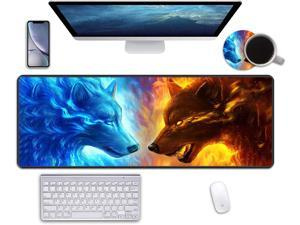 """Desk Pad Mat Gaming Mouse Pads with Coasters, 31.5""""x11.8"""" Large XXL Non-Slip Rubber Base Mousepad with Stitched Edges for Work & Gaming, Office & Home (Ice and Fire Wolf Head Galaxy)"""