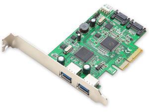 Syba SD-PEX50055 2 Port USB 3.0 and 2 Port SATA III PCIe 2.0 x4 Controller Card Green Grey