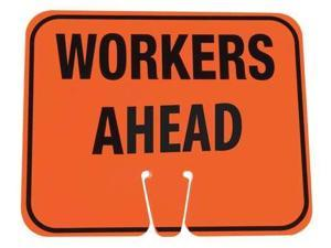 ZORO SELECT 03-550-WAH Traffic Cone Sign,Org/Blk,Workers Ahead