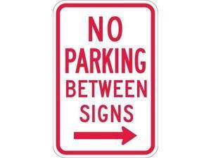 "LYLE T1-1051-EG_12x18 No Parking Sign, 12"" W, 18"" H, English, Aluminum, White"