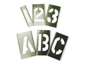 ZORO SELECT 6A232 Interlocking Stencil,Numb&Letters,Brass