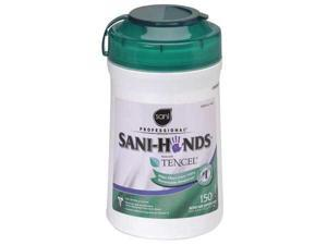 "SANI PROFESSIONAL P43572 Hand Sanitizer Wipes, 6 x 6-3/4"", 12 Pack, 150 Wipes"