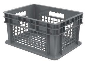 AKRO-MILS 37208GREY Gray Straight Wall Container 15 3/4 in x 11 3/4 in x 8 1/4