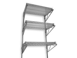 "ZORO SELECT 2HGF1 Steel Wire Wall Shelving, 18""D x 36""W x 54""H, Chrome"