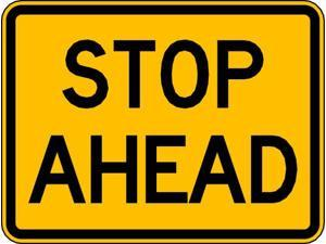 LYLE W3-1AP-24HA Traffic Sign,18 x 24In,BK/YEL,Stop Ahead
