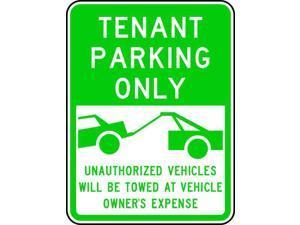 "LYLE RP-125-18HA Tenant Parking Sign, 18"" W, 24"" H, English, Aluminum, Green,"