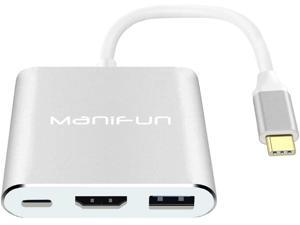 USB C to HDMI Adapter, Manifun Type C USB 3.1 to HDMI 4K/USB 3.0/USB C Converter Cable Charging Port Adapter Cable Compatible MacBook, Chromebook Pixel, Samsung Galaxy S8/S9/Note 8/Note 9