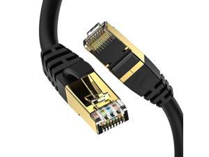 Cat8 Ethernet Cable, Outdoor&Indoor, 40FT Heavy Duty Direct Burial High Speed 26AWG Cat8 LAN Network Cable 40Gbps, 2000Mhz with Gold Plated RJ45 Connector, Weatherproof for Router/Gaming/Xbox/IP