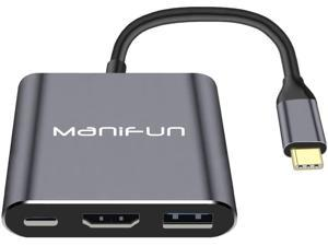 Manifun USB C to HDMI multiport Adapter, Thunderbolt 3 to HDMI 4K Port, USB 3.0 Port, USB C Power Charging Port Compatible MacBook Pro, MacBook, Samsung Galaxy S9/S10/ S20/ Note 9/Note 10/Note 20