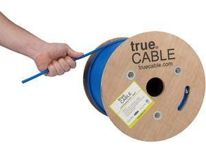 trueCABLE Cat6 Shielded Riser (CMR), 500ft, Blue, 23AWG Solid Bare Copper, 550MHz, ETL Listed, Overall Foil Shield (FTP), Bulk Ethernet Cable