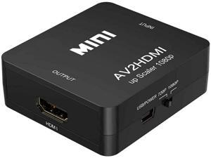 AV to HDMI Converter, RCA to HDMI, BD&M 1080P Mini RCA Composite CVBS Video Audio Converter Adapter Support PAL/NTSC for TV/PC/ PS3/ STB/Xbox VHS/VCR/Blue-Ray DVD Players - Black