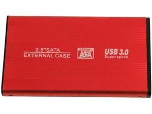JMT 2.5 Inch USB3.0 SATA External Hard Drive Enclosure HDD Box SSD Housing Support for SATA 3Gbps/1.5Gbps HDD/SSD/Blu-ray/DVD/CD (Red)