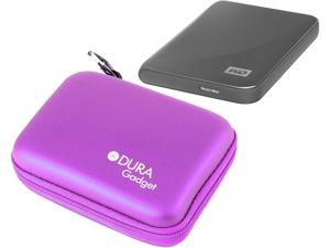 DURAGADGET Purple Shell Carry Case - Suitable for Use with Western Digital Elements 3TB External Desktop | Elements Portable 2TB | Red | D10JFCX | WD7500BFCX | Elements 1TB & My Passport Ultra 1TB