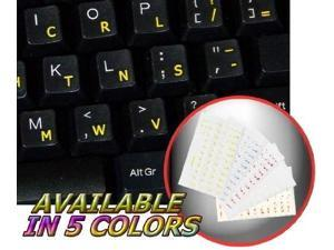 GREEK KEYBOARD STICKER WITH YELLOW LETTERING ON TRANSPARENT BACKGROUND FOR DESKTOP LAPTOP AND NOTEBOOK