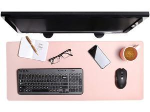 ENHANCE PU Leather Mouse Pad - Faux Leather Desk Mat Protector Extra Large - Water and Stain Resistant Non-Slip Grip and Stitched Edges - Great Decor and Work from Home Office Accessories (Pink)