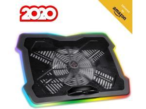 Klim Ultimate + RGB Laptop Cooling Pad with LED Rim + Gaming Laptop Cooler + USB Powered Fan + Very Stable and Silent Laptop Stand + Compatible up to 17 + for PC Mac PS4 Xbox One + New 2020