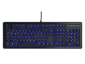 SteelSeries Apex 100 Gaming Keyboard - Tactile & Silent - Blue LED Backlit - Splash Resistant - Media Controls