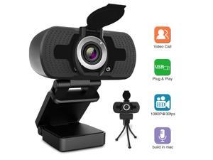Webcam with Microphone, 1080P HD Webcam with Privacy Cover and Tripod, Streaming Computer Web Camera with 110-Degree Wide View Angle, USB PC Webcam for Video Calling Recording Conferencing