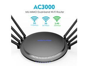 Wavlink AC3000 Tri-Band Gigabit Wireless Smart Router WIFI router with MU-MIMO, 8 x 5dBi High Gain Antennas, 4 x LAN full Gigabit Ports, One USB3.0 Port, WPS & IP Qos, Game Router