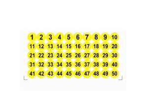 Round Number Stickers, 25mm Dia Number 1-50 Self Adhesive PVC Label Waterproof Black Word(Yellow Background)