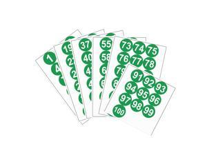Round Number Stickers, 75mm Dia Number 1-100 Self Adhesive PVC Label Waterproof White Word(Green Background)