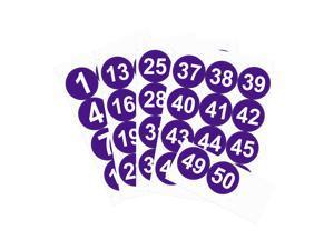 Round Number Stickers, 100mm Dia Number 1-50 Self Adhesive PVC Label Waterproof White Word(Dark Purple Background)