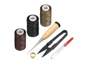 7 Pcs Leather Tools Craft DIY Hand Stitching Kit with Waxed Thread Cords, Stitching Awls, Thread Unpicker, Sewing Thimble, Scissors