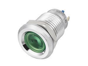 Unique Bargains J12-150P DC12V 12mm Thread Dia Concove Head Green LED Signal Indicator Light