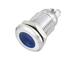 J12-170A DC12V 12mm Thread Dia Metal Shell Flat Head Blue LED Signal Indicator Light