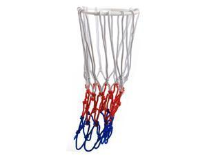 "2 Pcs Red Blue White Nylon Braided Basketball Net 20.5"" Length 12 Loop"