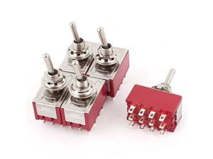 Red ON-ON 2 Position 12 Terminal 4PDT Toggle Switch AC 250V/2A 120V/5A 5pcs