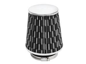 Unique Bargains Unique Bargains 76mm Plastic Hose Clamp Conical Mesh Carbon Fiber Car Air Filter Black Gray