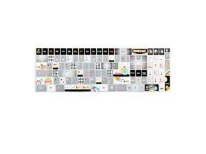 Unique Bargains English Design Gray Glittery Keyboard Sticker Decal