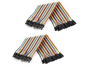 0.66ft 40 Pin 40 Way M/F Connector IDC Flat Rainbow Ribbon Cable 2pcs