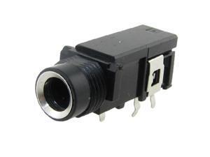 """Unique Bargains Unique Bargains 1/4"""" 6.5mm 3 Pin Stereo Jack Panel Mount PCB Connector Black"""