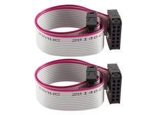 2 Pcs 20cm IDC 12P Hard Drive Extension Wire Flat Ribbon Cable for Motherboard