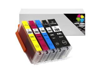 GTS Compatible PGI-280XXL Inkjet Cartridge [1967C001/1983C001/1980C001/1982C001/1981C001] High Yield for Printer Pixma Wireless TS8120 TS6120 TR7520 TR8520 TS9120 TS8120 TS6220 (BBCYM)
