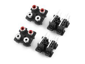 Panel Mounting Audio Video Jack AV Socket 4 Position RCA Female Connectors 4pcs