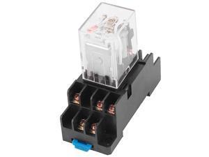 HH54P-L AC 110//120V Coil 14Pins 4PDT 35mm DIN Rail Red Lamp Power Relay w Socket