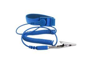 Global Bargains Anti-static Wrist Band Grounding Sky Blue Elastic Coiled Cable