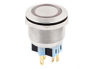 DC 12V 20mm Red LED Light 25mm Mounted Thread NO/NC Momentary Push Button Switch