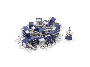20Pcs AC 125V 6A 6Pin ON-OFF-ON 6mm Thread DPDT Locking Mini Toggle Switch Blue