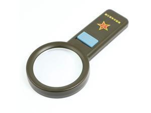 Unique Bargains Handheld Plastic Frame White 10 LED Light 85mm Dia 5X Multiple Magnifier