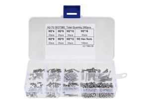 Global Bargains 280pcs M2 304 Stainless Steel Hex Socket Button Head Cap Bolts Screws Nuts Kit
